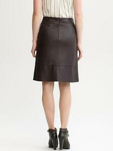 b2827aff75 Image is loading Banana-Republic-A-line-chocolate-brown-leather-skirt-