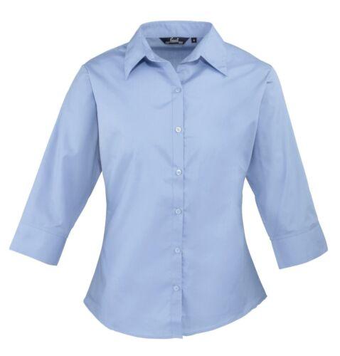 Womens Shirt Blouse Women/'s Poplin Women/'s ¾ Sleeve Poplin Work Shirt PR305