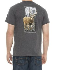Heybo-Mens-Whitetail-Buck-Deer-Antlers-Hunting-T-Shirt-Tee-Charcoal-Size-Large
