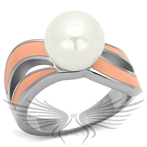 Beautiful Synthetic Pearl Epoxy Colored Stainless Steel Fashion Ring TK810 *