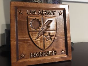 Military Gift Veteran Gift Wood Carved Army Ranger Plaque