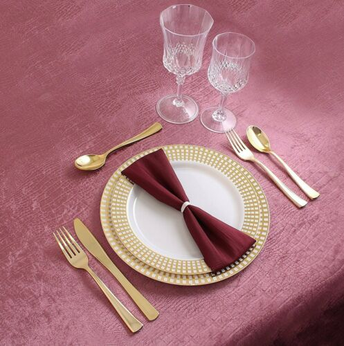 40 Count Party Disposable Dinner Plates and Bowls Plastic Gold Border Plate