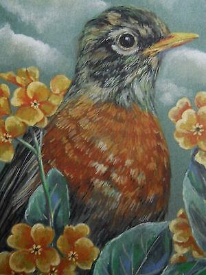 Robin bird wildlife Primrose print of painting