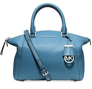 Michael-Kors-Tasche-Bag-Riley-SM-Satchel-Bowling-Bag-Leather-Sky-NEU