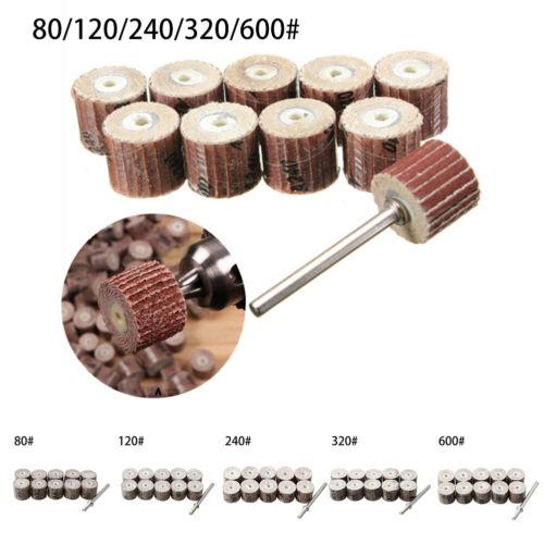 10X Flap Wheels Sandpaper 12mm Sanding Discs For Rotary Tool 80-600Grit Handle
