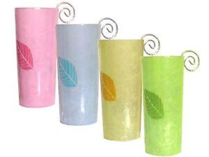 Farbige-Teelichtroehre-mit-Blattmotiv-Glas-Hoehe-ca-14-cm-Teelichtglas