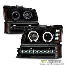 2003-2006 Chevy Silverado 1500 Black Smoke LED Halo Headlights DRL Bumper Lamps