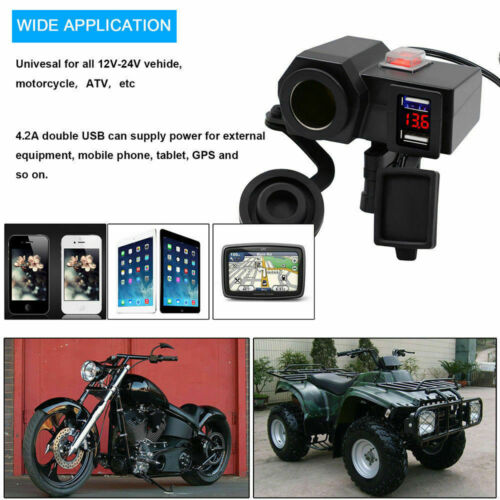 12V 4.2A Motorcycle Waterproof USB Power Charger Socket Port Voltmeter+145 Cable