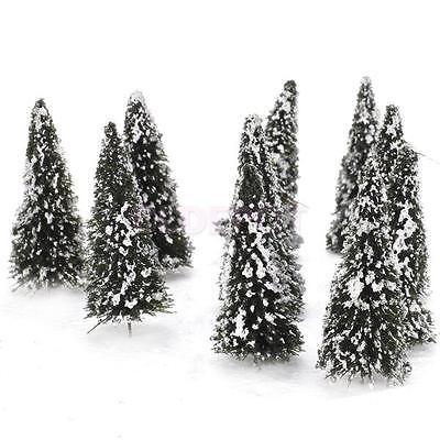 10pcs Model Forest Cedar Trees Snow Scenery Landscape Layout N Scale 1:150 New