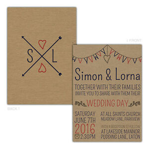 Personalised-kraft-day-evening-wedding-invitations-BOHO-BOHEMIAN-ARROWS-CORAL-BL