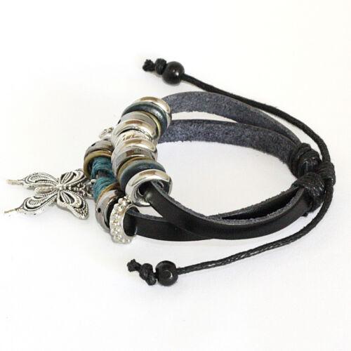 Tibetan silver peace sign ethnic hemp leather charm bracelet