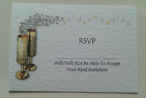 5 personalised golden wedding anniversary rsvp reply cards with