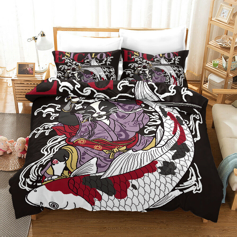 3D Abstract Fish Quilt Cover Set Bedding Duvet Cover Single Queen King 251