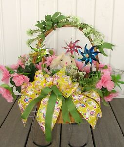 Pinwheel-Easter-Bunny-Basket-Childs-Cemetery-Grave-Tombstone-Saddle-Silk-Flowers