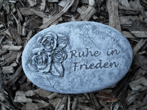 "Grabschmuck Grabplatte /""Ruhe in Frieden/""  Frostfest Steinguss Grab Deko"