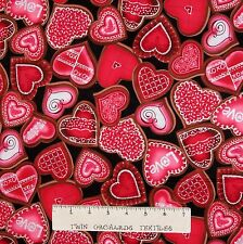 Valentine's Day Fabric - Red Chocolate Hearts on Black - Benartex Kanvas YARD