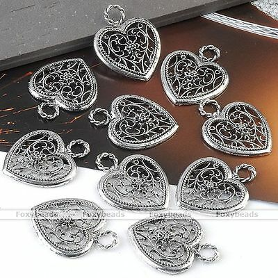 10P Tibetan Silver Hollow Heart Bead Pendant Charms Jewelry Finding Making