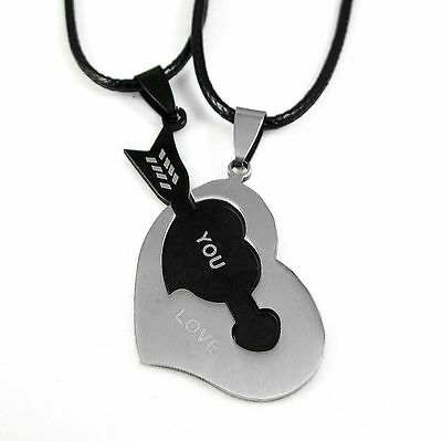 2pcs Stainless Steel Heart and Arrow Couples Necklace Love His Hers Best Friend
