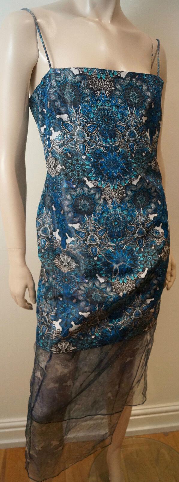 HELMUT LANG Femme Bleu Noir Blanc Imprimé Floral Sans hommeches Robe longue Sz 6 UK10