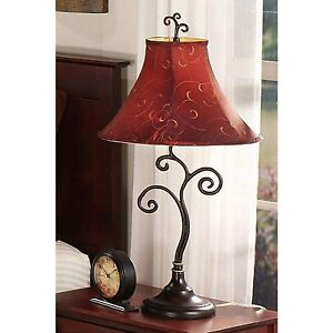 Whimsical table lamp metal bronze scrollwork bell shade foyer desk image is loading whimsical table lamp metal bronze scrollwork bell shade mozeypictures Image collections