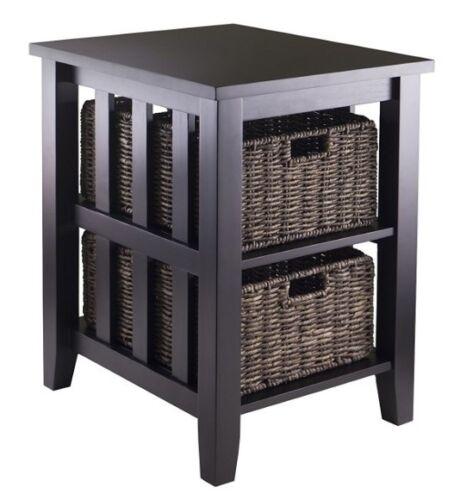 Amazing Side Table 2 Shelf End Baskets Mission Vintage Accent Storage Dark Brown  Shelves