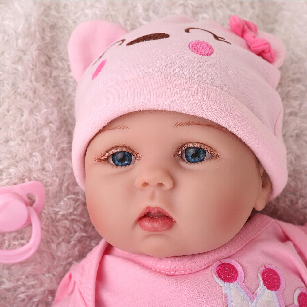 "Reborn Baby Doll 22/""Handmade Lifelike Vinyl Silicone Toddler Doll Gift Birth Toy"