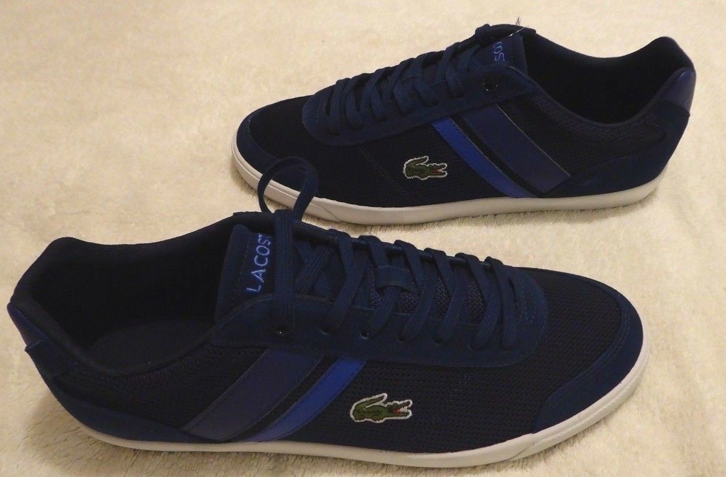 NEW BOXED MEN'S NAVY LACOSTE COMBA TRAINERS SHOES - SIZE 7 -  & FREE POST