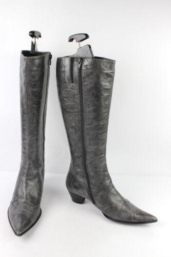 Grauem T Stahl Leder Zustand Guter 39 Stiefel Sehr Minelli gwqpn5qI1