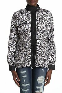 Vigoss Women's Jacket White Size Small S Leopard Printed Front-Zipped $88 #009