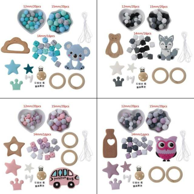 12mm Letter Silicone Beads Alphabet Spelling Bpa Free Teething Necklace Pacifier