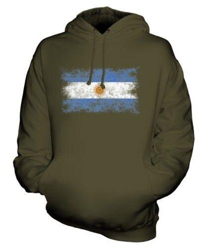 ARGENTINA DISTRESSED FLAG UNISEX HOODIE TOP ARGENTINE ARGENTINIAN ARGENTINEAN
