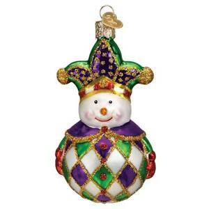 Old-World-Christmas-HARLEQUIN-SNOWMAN-24193-N-Glass-Ornament-w-OWC-Box