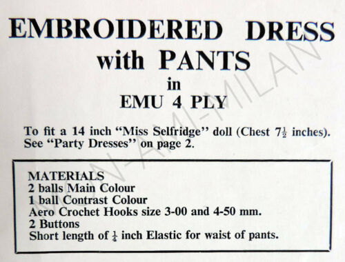 Dolls Clothes EMBROIDERED DRESS with PANTS Crochet Pattern Photocopy 14/""