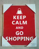 Keep Calm And Go Shopping: Red Sign Wall Hanging - Unused In Retail Packaging