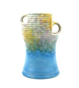 Art-Deco-Beswick-Vase-Twin-Handled-Shape-190-Mottled-Blue-Yellow-Mauve