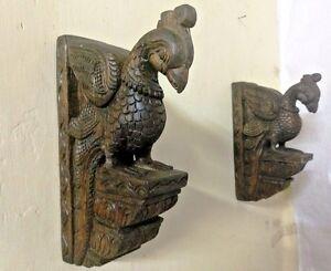 Vintage Bird Peacock Wooden Corbel Bracket Pair Wall