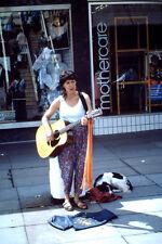 Vintage Kodachrome Slide Negative Street Performer, Lady Musician Singer & Dog