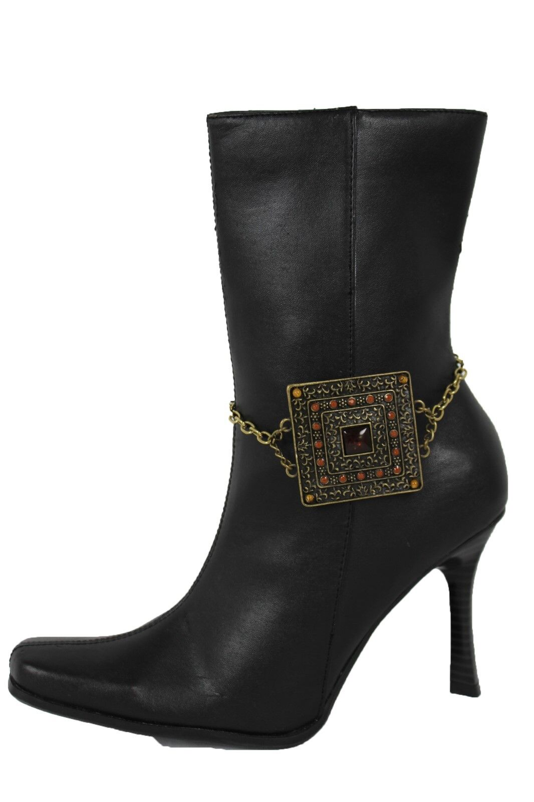 Women Boot Anklet Antique Vintage Gold Chain Metal Shoe Bling Moroccan Big Charm