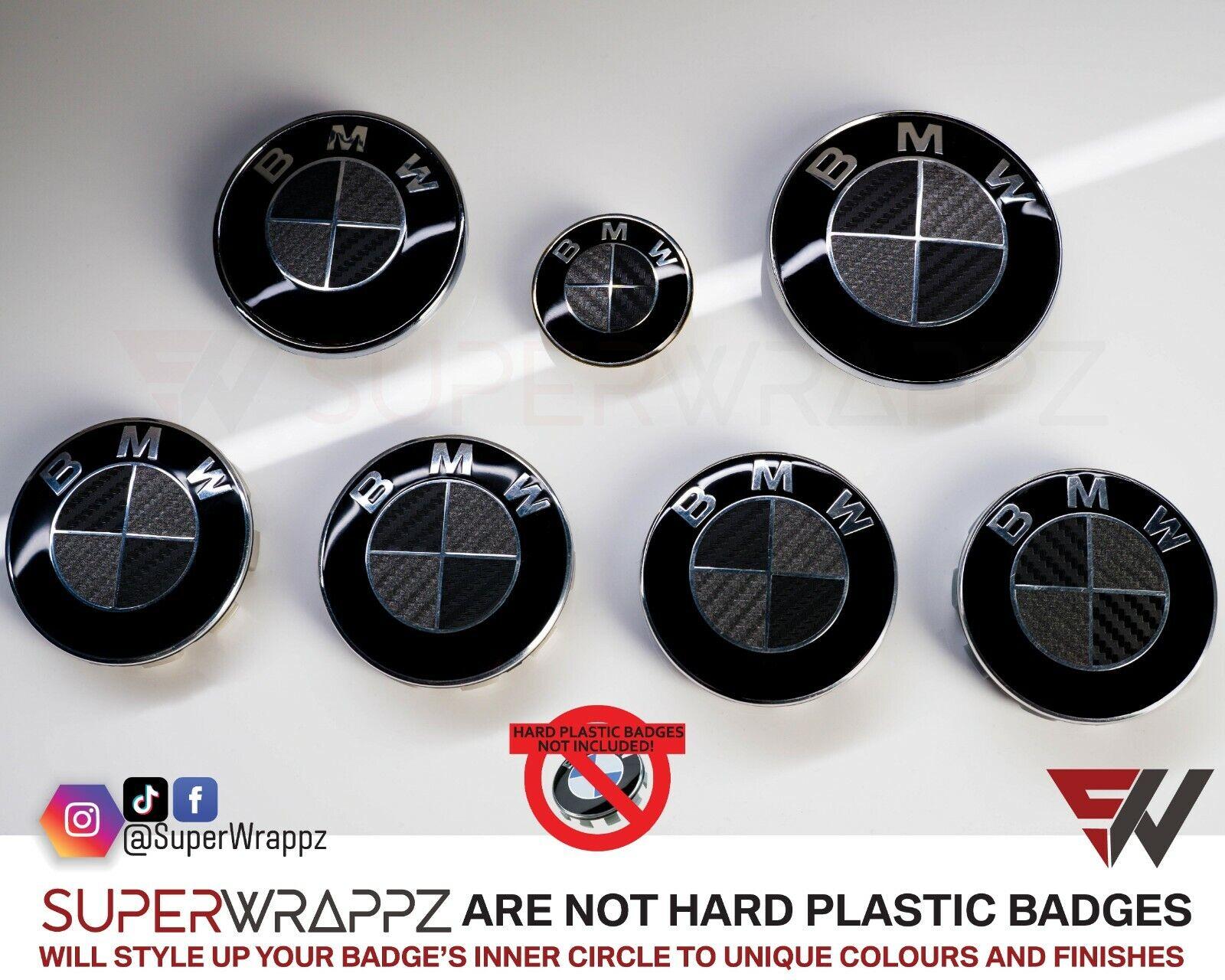 Black Dark Grey Carbon Fiber Superwrappz Badge Overlay For Bmw Fits All Bmw Ebay