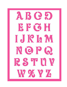alphabet schrift abc schablone mit sch nen schn rkel buchstaben ebay. Black Bedroom Furniture Sets. Home Design Ideas