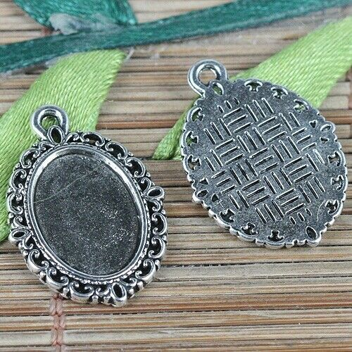 10 New Charms Oval Flower Picture Frame Pendants Antiqued Bronze Tone 16.5x23mm