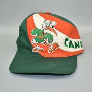 Miami-Hurricanes-NCAA-Twins-Enterprise-Swirl-Vintage-90-039-s-Snapback-Cap-Hat-NWT