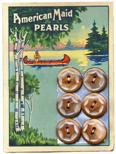 Vintage American Maid Pearl Button Card w/ Indian Maiden in Canoe Graphics