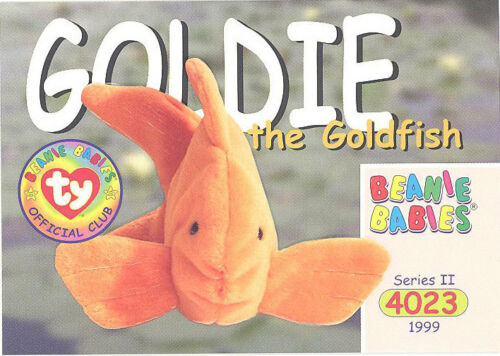 Series 2 Common TY Beanie Babies BBOC Card GOLDIE the Goldfish NM//Mint
