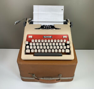 Vintage Royal Tab-O-Matic Portable Manual Typewriter w/ Case Two-Tone Red Cream