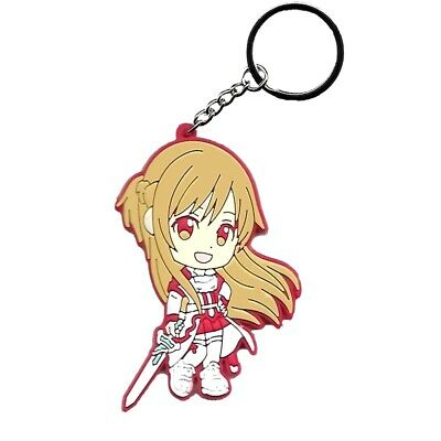 "3.2/"" Sword Art Online SAO Rubber Keychain Keyring Asuna Double Sided Figure"