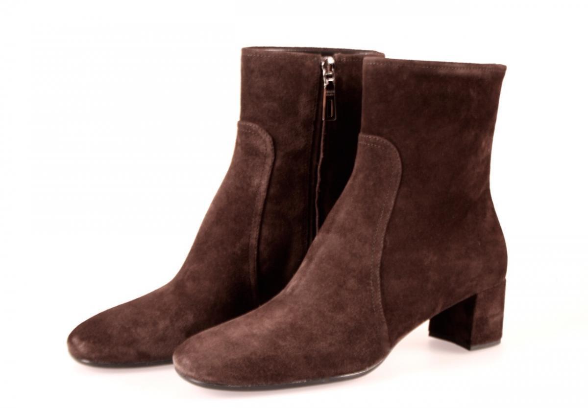 Lujo prada botín zapatos 3t5524 marrón de gamuza nuevo New 37,5 38