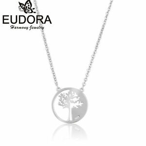 S925-Sterling-Silver-Tree-of-Life-Round-Pendant-Necklace-Silver-18-034-Chain-Gift