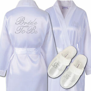 Rhinestone-Bride-To-Be-Satin-Bathrobe-amp-Spa-Slippers-Set-Kimono-Dressing-Gown