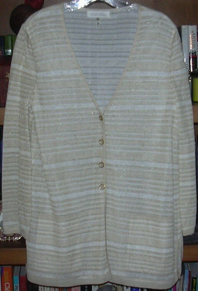 Escada White, Tan, Cream, gold Metallic Cardigan Size 42 12
